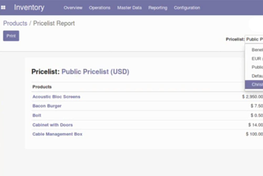 Nieuw in Odoo 14 : Product Pricelist Report